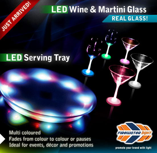 LED Wine and Martini Glasses / LED Serving Tray