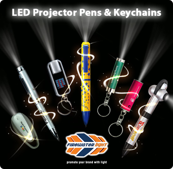 Customised logo projector pens and keychains
